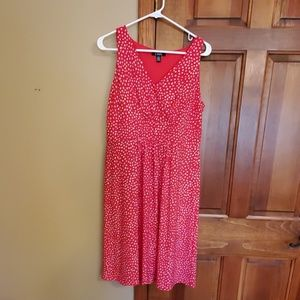 Chaps red dress with polka dots, Large.